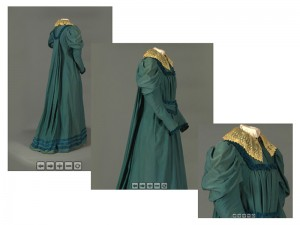 3 screenshots of an ObjectVR of a dress from the Vassar College Costume Collection, showing rotation and zoom