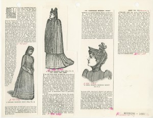 a page from a research notebook from Nancy Rexford with 3 illustrations of mourning dress and text